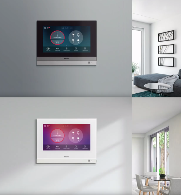 Images of installed HOMETOUCH in grey and white versions