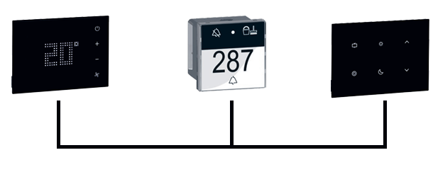View of the thermostat, the card access control and scene control panel